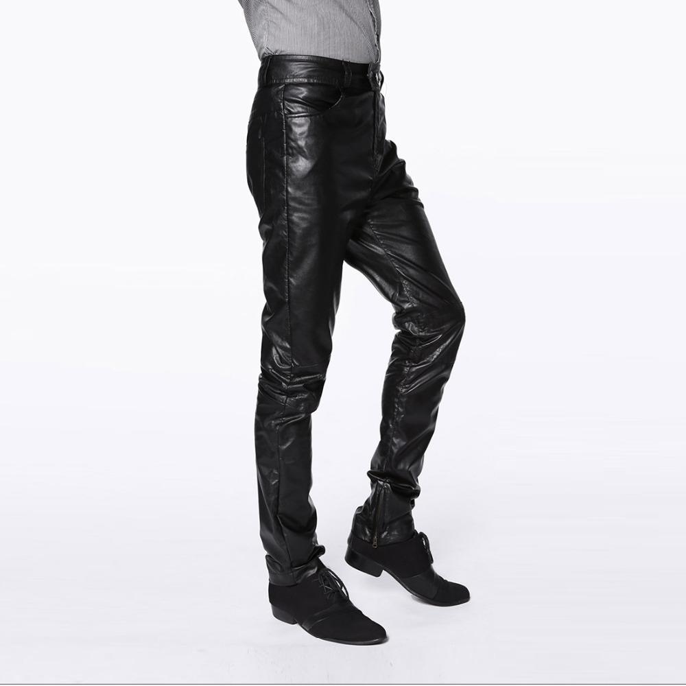 Wholesale- High quality men leather pants harajuku hip hop fashion mens motorcycle PU trousers zipper pantalones hombre plus size m-4xl