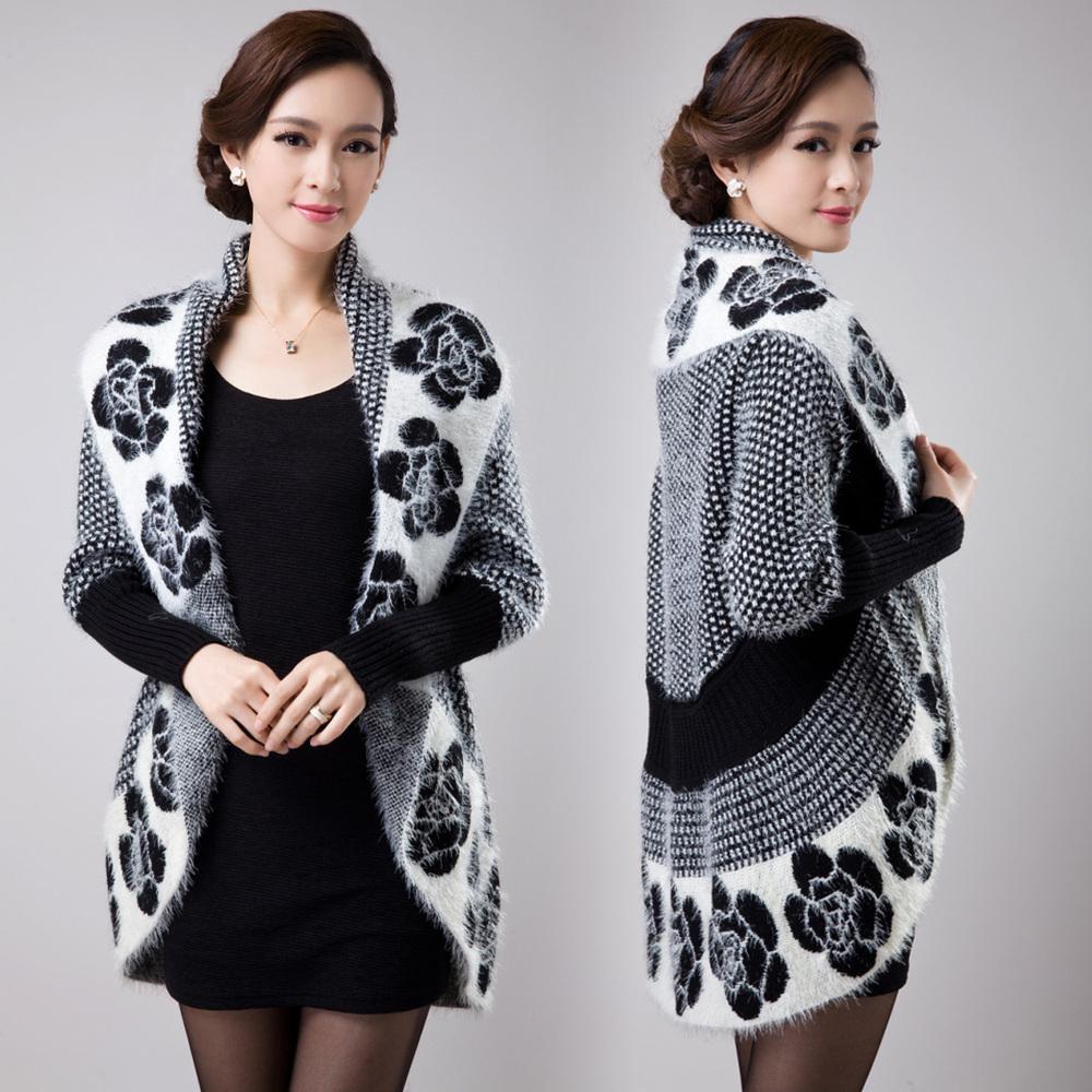 Toptan-M-2XL ücretsiz kargo 2015 Yeni fallwinter kadın örme hırka ceket kazak elbise gevşek artı boyutu pelerin pelerin casaco feminino