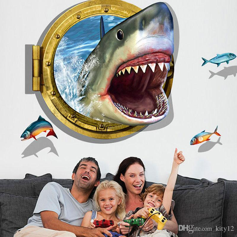 3D Visual Effects Shark Wall Art Stickers Decor Home Decoration Size 90cm*60cm DIY Design Reflects The Personality free shipping