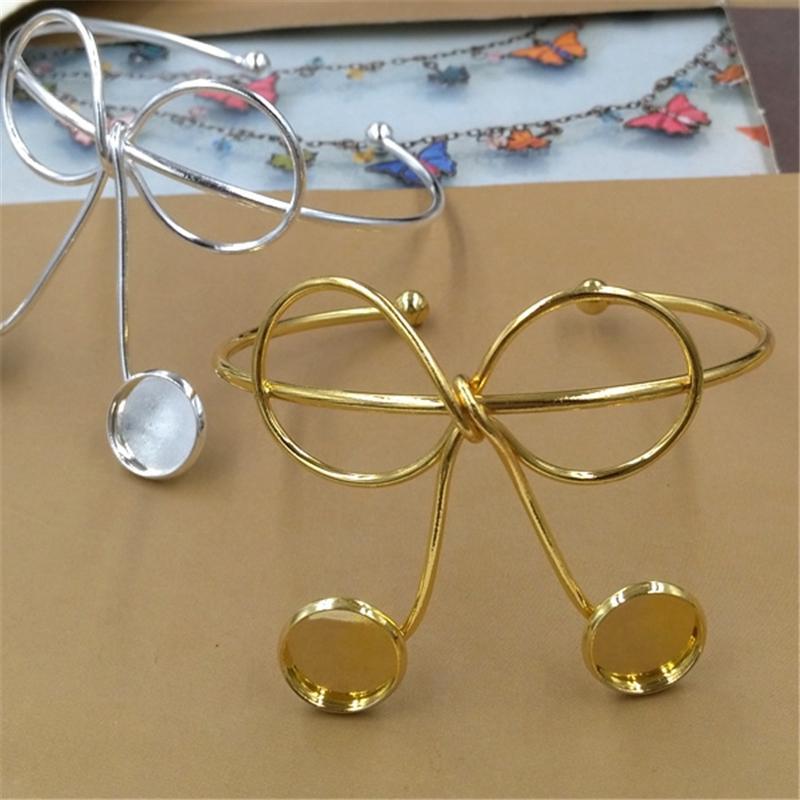 BoYuTe New Product 5Pcs 12mm Cabochon Base DIY Metal Bangle Bracelet Line Twist Bowknot Silver Gold Bangles