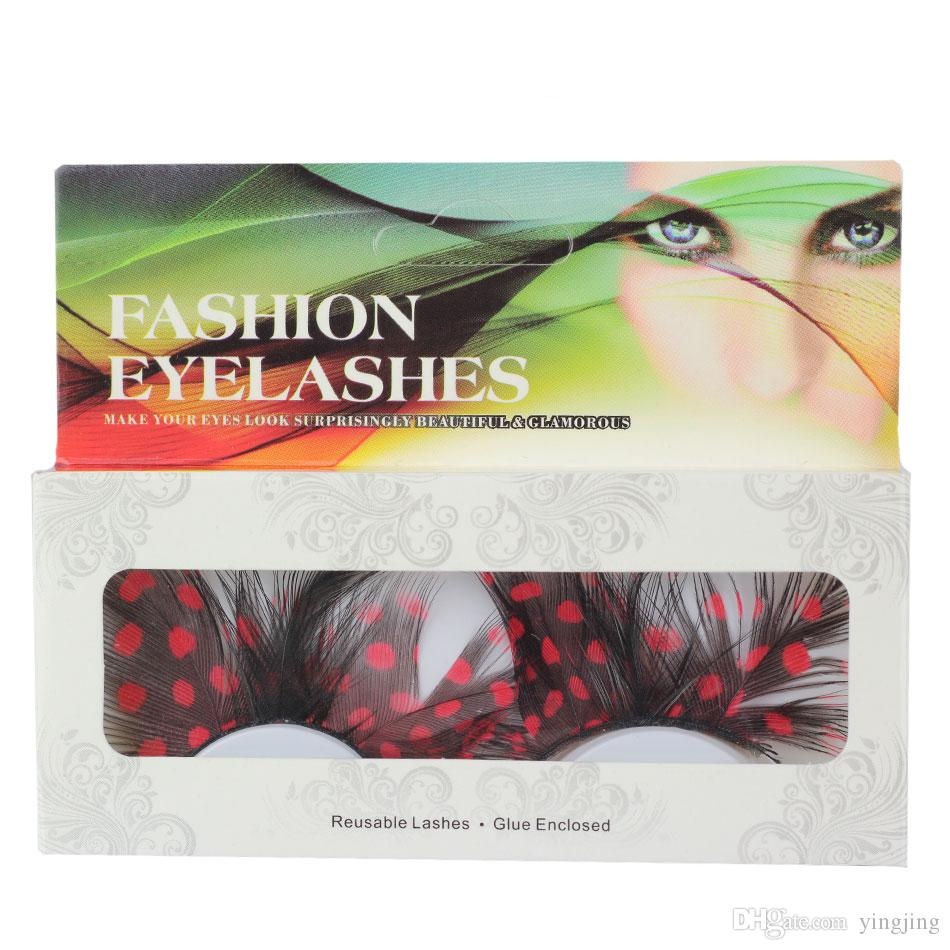 1 Double / Colorful Feather False Eyelashes For Party Makeup or Exaggerated Maquiagem Red Dot Eyelashes
