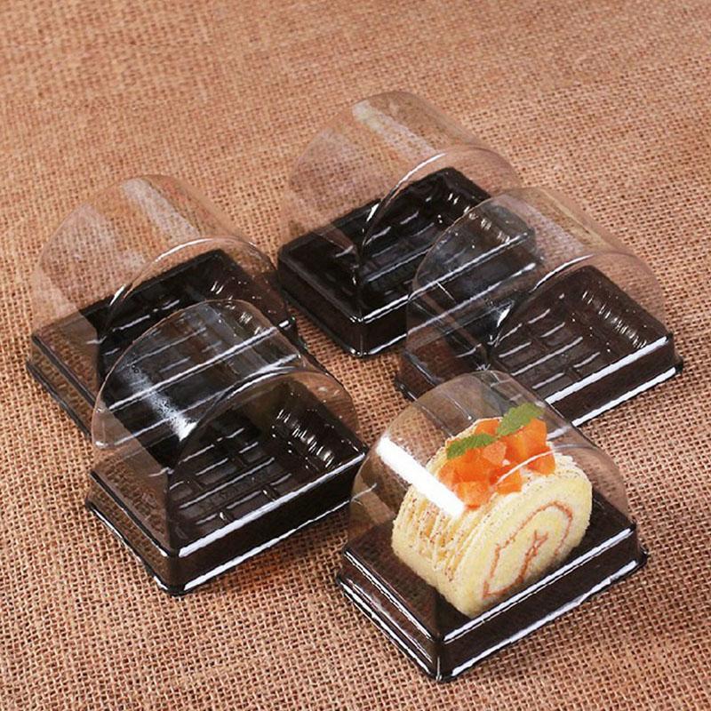 800 adet / grup 135 * 85 * 92mm Plastik Temizle Tek Kullanımlık Kek Kutusu Tek Bireysel İsviçre Kek Kutuları Gıda Tatlı Ambalaj