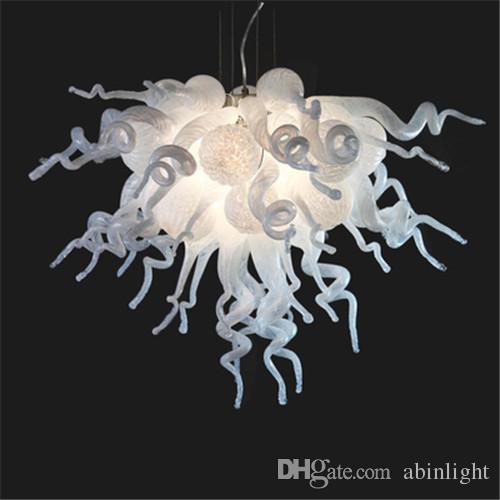 AC 110V 120V 220V 240V Modern Art White Handmade Blown Glass Chandelier Wedding Decor White Modern Crystal Chandelier