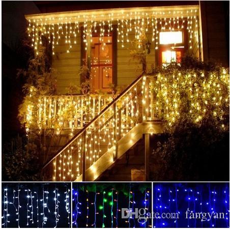 Cortina LED Sincelo Fada Luzes Da Corda 4 m 100leds barra de gelo Lâmpadas de Natal 110 V / 220 V Ano Novo Jardim Xmas Festa de Casamento Decoração