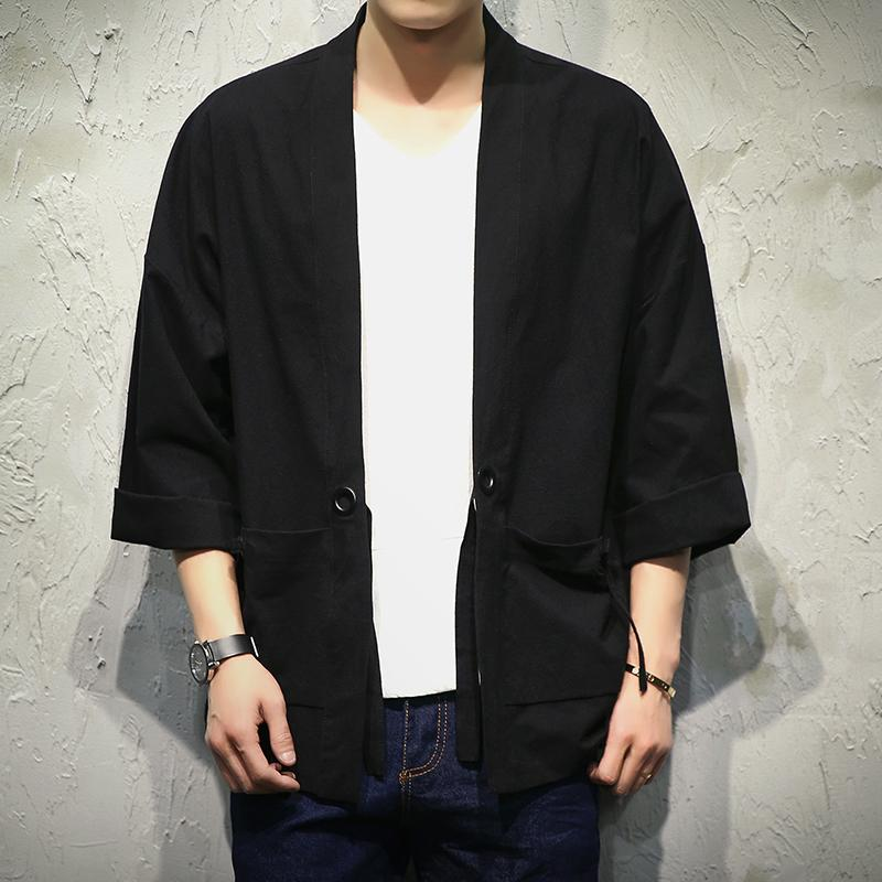 Hurtownie-Japan Style Kimono Kurtka Mężczyźni 100% Bawełna Loose Męskie Kurtki Plus Rozmiar 3/4 Rękaw Otwórz Stitch Casual Coat Male Windbreaker