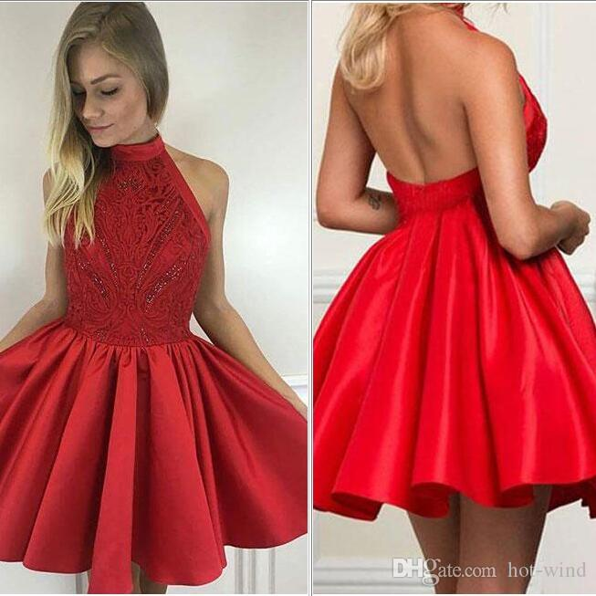 Dark Red Short Homecoming Dresses 2020 Halter Sleeveless Lace Sequins A Line Satin Cocktail Party Wear Sexy Backless Sweet 15 For Girls