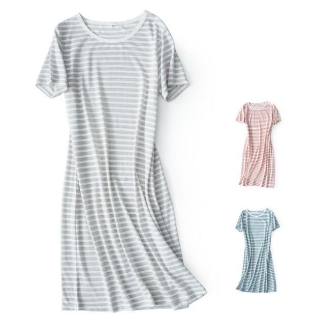 محبوك مخطط قصيرة الأكمام النوم تنورة القطن الرئيسية التنورة فساتين أنثى منتصف الصيف 10075
