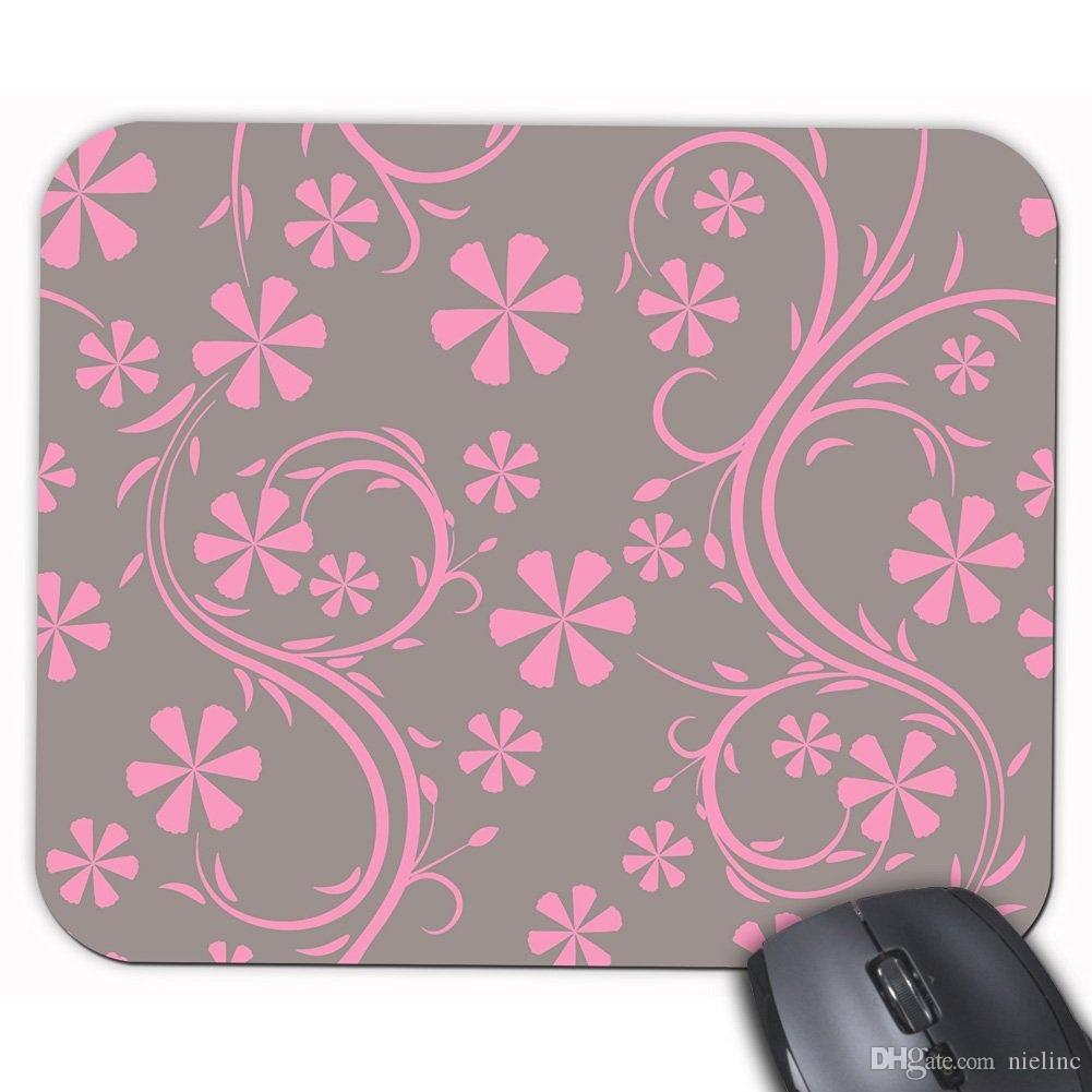 Floral Pattern Gray and Pink Flower Printed Personality Rectangle Desktop Mouse Mat Customized Design Gaming Mouse Pad Laptop Office Mousepa
