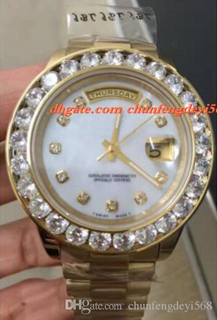 Luxuxarmbanduhr-neue Männer 2 II festes 18 kt Gelbgold 41MM größere Diamant-Uhr-keramische Lünette-automatische Bewegungs-Mann-Uhren-neue Ankunft