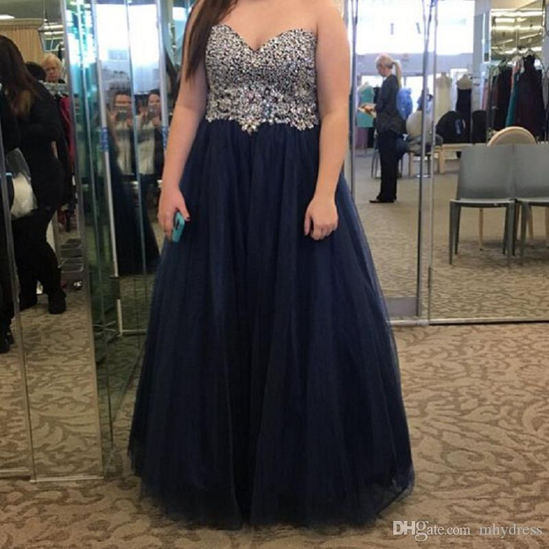 Plus Size Prom Dresses 2017 Fashion Sweetheart Beaded Tulle Navy Blue A  Line Formal Evening Pageant Gowns For Girls Old Hollywood Prom Dresses  Petite ...