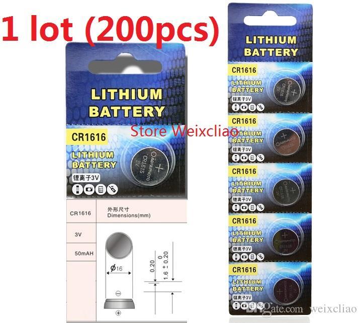 200pcs 1 개 CR1616 3V 리튬 이온 버튼 전지 CR 1616 3 볼트 리튬 이온 배터리 무료 배송