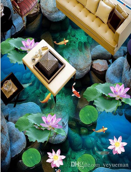 Wasserdicht Umweltschutz 3D PVC Bodenbelag wasserdicht selbstklebende Tapete anpassen HD Schöne Wasser Boden Malerei