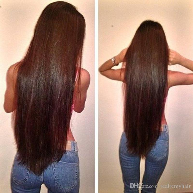 PASSION Hair Products Brazilian Straight Virgin Hair Weave Bundles #2 Dark Brown Colord Remy Human Hair Extensions 3 Piece/Lot