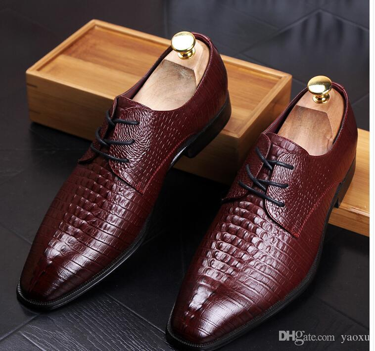 how to choose temperament shoes soft and light 2018 Mens Dress Shoes Genuine Leather Black Burgundy Slip On Wedding  Business Fashion Male Shoes Hx11 Heels Shoes Online From Yaoxu, $36.39| ...