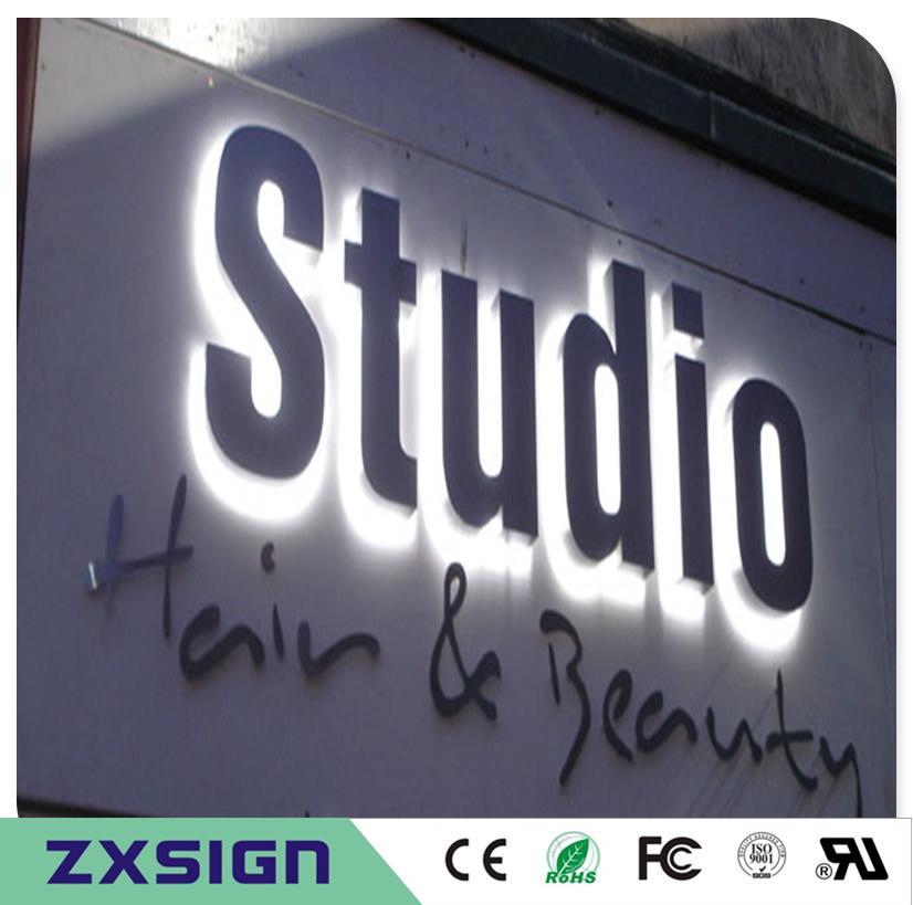 Edelstahl beleuchtete Zeichenbuchstaben des Fabrik-Outlets im Freien, hinterleuchtete Metallshop-Zeichenbuchstaben, kundenspezifische Firmenladen-Namenzeichen