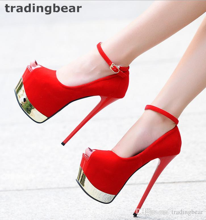 16cm Sexy Red Bottom Ultra High Heels Synthetic Suede Ankle Strap Super Platform Pumps Prom Night Club Shoes Size 34 to 39