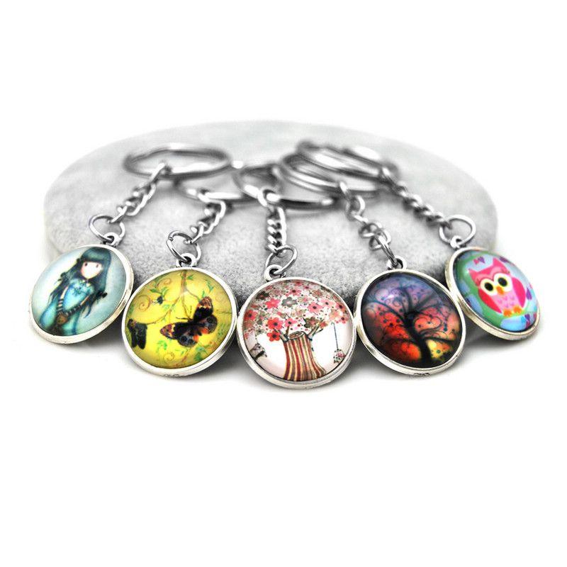 Nouveau verre d'origine Carbochon Anime Keychain Hibou Femmes Trinket Arbre Porte-clé Bague fleur de cristal Bijoux Femme Keyring souvenirs cadeaux