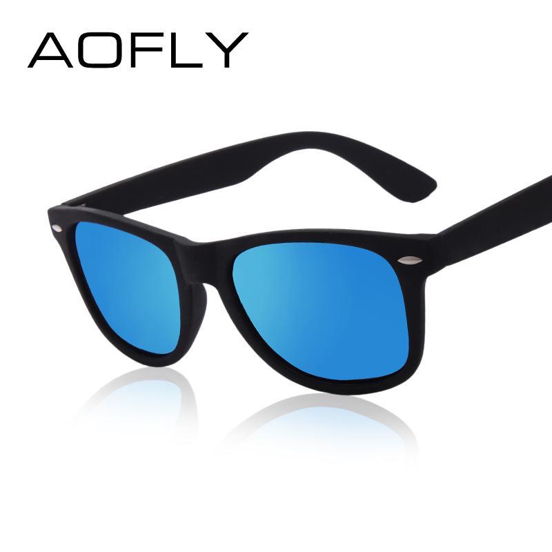 Atacado-AOFLY Moda Óculos De Sol Dos Homens Polarizados Óculos De Sol Dos Homens Espelhos de Condução Pontos de Revestimento Moldura Preta Óculos de Sol Masculino Óculos UV400