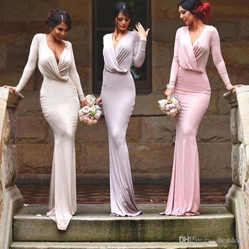 مخصص مثير غمد رخيصة اللباس وصيفه الشرف مع الأكمام طويلة الأزياء الجديدة الأزياء الخامس الرقبة طول الطابق الرائع خادمة الشرف