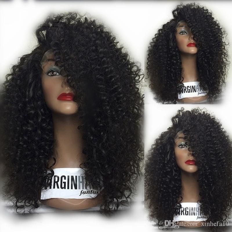 Afro riccioli capelli umani mongolo afro parrucche ricci crespi parrucca piena del merletto dei capelli umani per le donne nere in magazzino