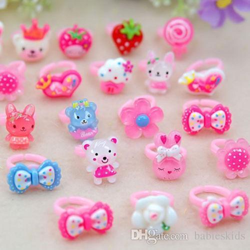 Moda Infantil Raparigas Bebés crianças Crianças de flor Anéis animais do coração jóias de Verão Vestido Acessórios doces anéis de dedo Cores Meninas