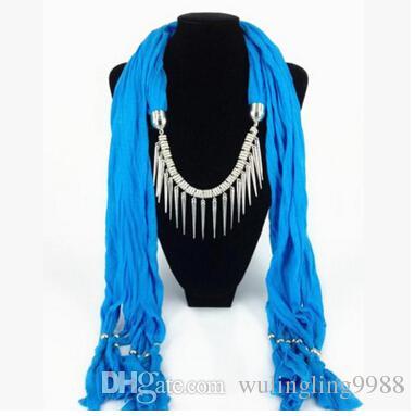 Sciarpa ciondolo design misto Sciarpa collana donna Sciarpa stile moda perline Sciarpa morbida nappa MOQ 50 pz
