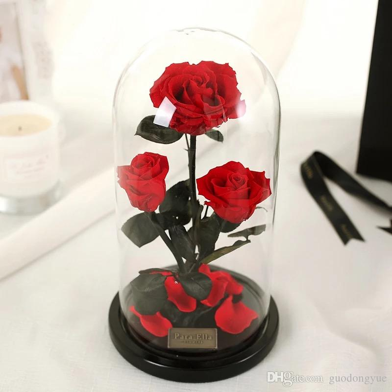 Preserved Rose In Glass Dome Three Red Flower For Gift Home Decoration