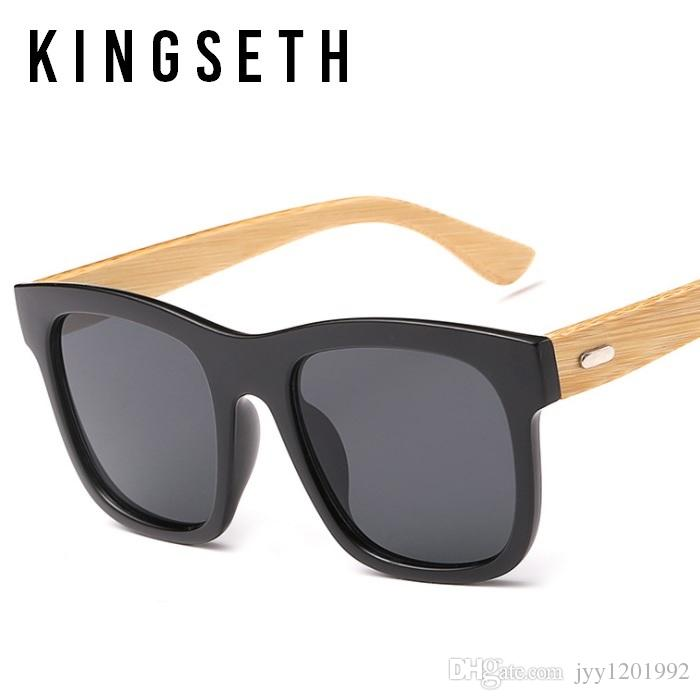 KINGSETH 2017 New Arrival Genuine Bamboo Edition Square Sunglasses For Men & Women Summer Fashion Sun Glasses Smart Casual Eyewear UV400