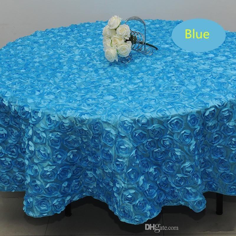 الجملة 120 بوصة اللون الأبيض الزفاف المائدة المستديرة القماش الأغطية 3D روز بتلات جولة مفارش المائدة مناسبات الزفاف مورد 7 ألوان