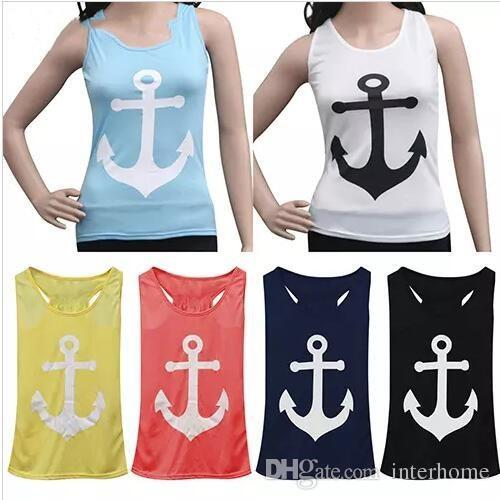 Women Loose Vest Casual Tanks Summer Tops Sleeveless Blouse Anchor T Shirts Bowknot Shirt Sexy Backless Sports Cotton Blend Camis New H117