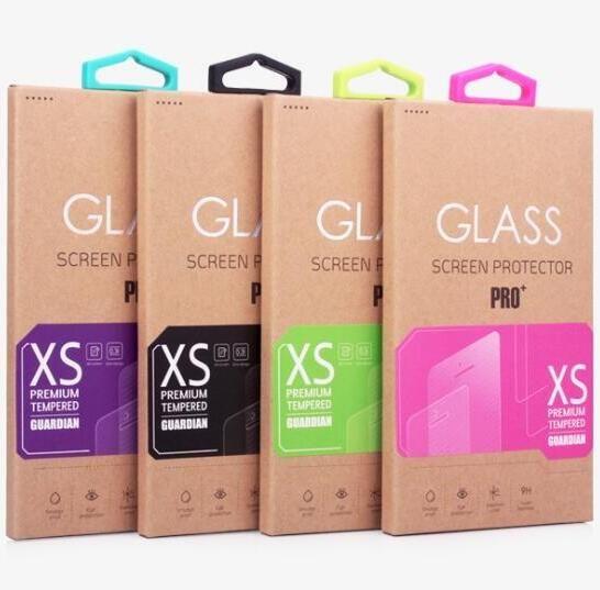 Kraft kağıt Kutusu Için Renkli Etiket kanca Temperli Cam Ekran Koruyucu Perakende Kutu Paketi ambalaj kutuları iphone 6 S Artı Samsung S7 Kenar