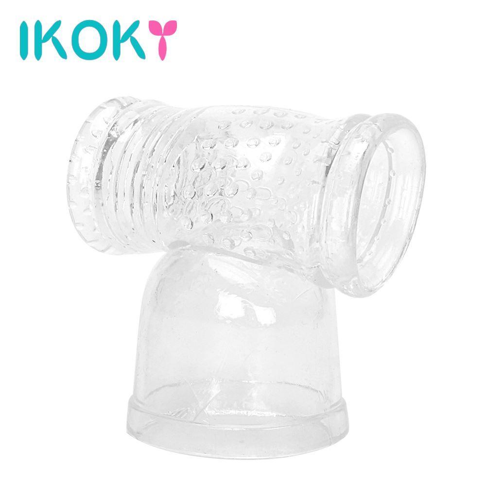 IKOKY Ultimate Pleasure Male Masturbator Toy Vibrating Nozzles Of Massager Penis Stimulator Hitachi Magic Wand Attachment q170718