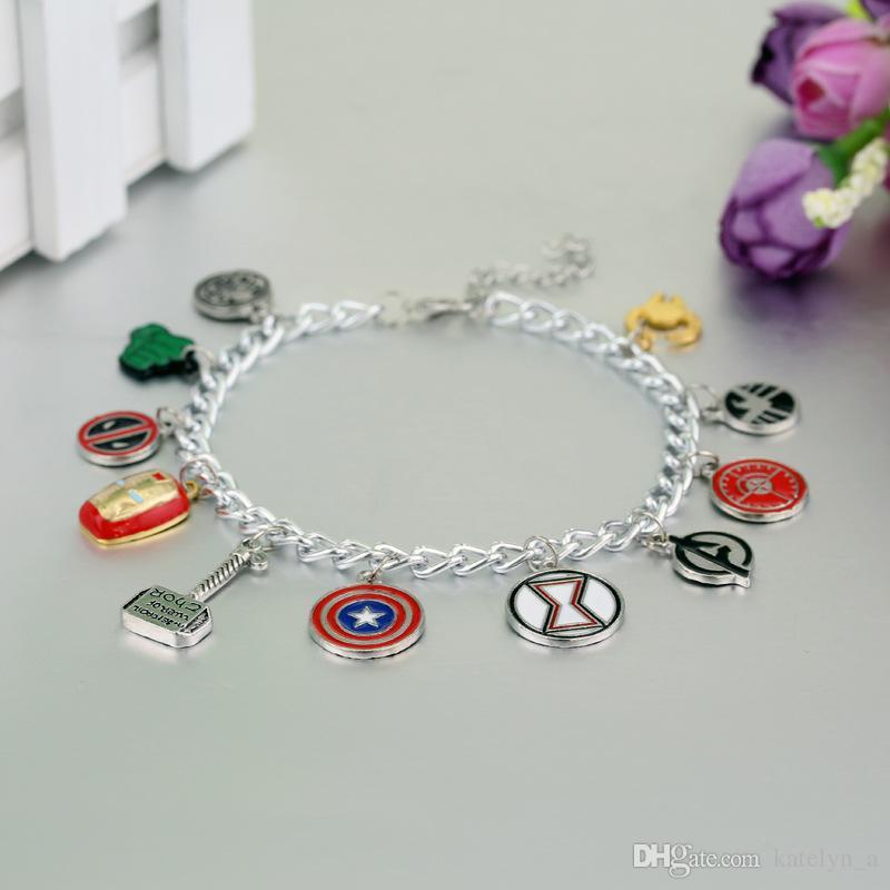 Marvel Avengers Enamel Logo Charm Bracelet Captain America Iron Man Deadpool