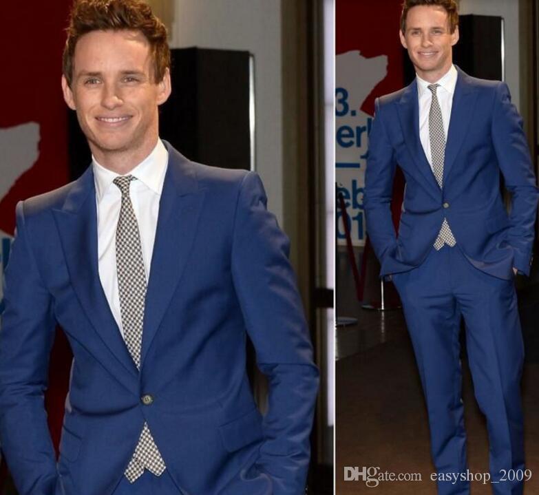 The latest men suits groom wedding tuxedo suits blue lapel one ...