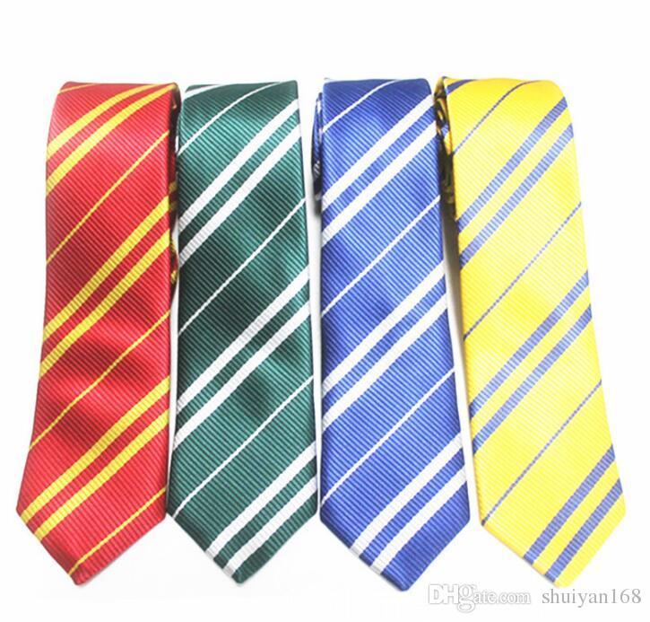 DHL Cuello de rayas Corbata para los corbatas de la escuela para hombre ADUTANDUTSUITS GRYFFINGO RAVENCLAW HufflePuff Slytherin Corbatas Accesorio de moda Halloween Regalo