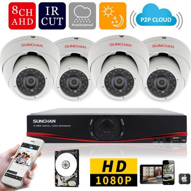 8ch 1080 وعاء AHD-H dvr 4 قطع 2.0mp 1080 وعاء داخلي قبة الأمن كاميرا dvr مجموعات cctv الرئيسية نظام المراقبة بالفيديو ث / hdd