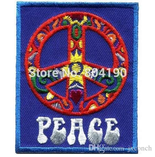 "3"" Peace sign hippie boho retro flower power love hippy motorcycle MC biker emo punk rockabilly applique iron on patch Wholesale"