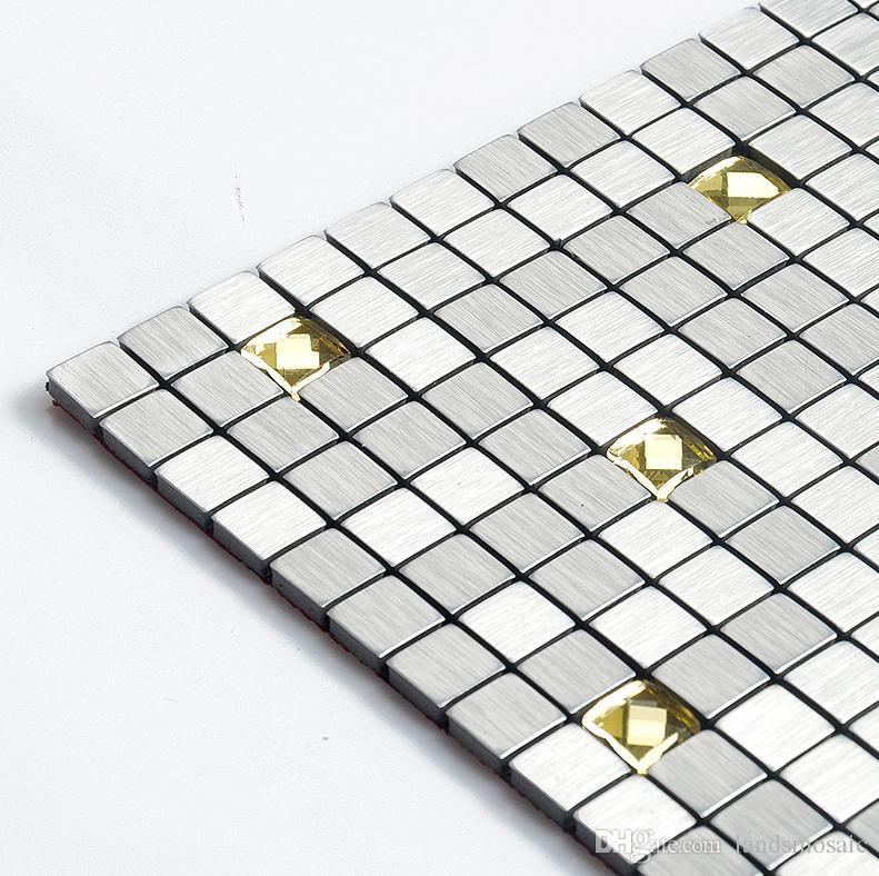 Großhandel Silber Aluminium Kunststoff Fliesen, Selbstklebende Metall Mix  Glasmosaik Fliesen Für Home Wand Dekor 12\'\'x12 \'\', Küche Backsplash  Fliesen, ...