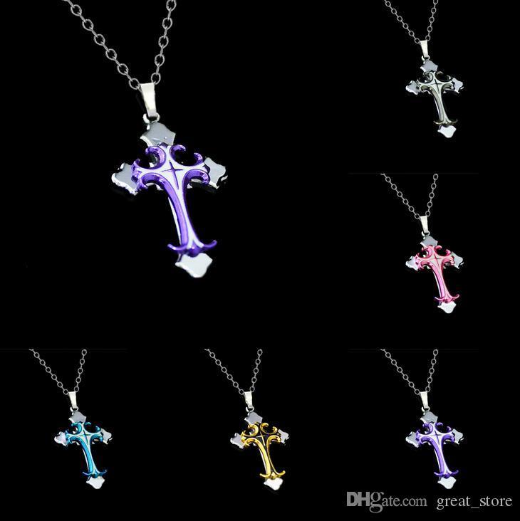 Brand new Christian Plating Tropfen Kreuz Anhänger Halskette kurzen Abschnitt WFN020 (mit Kette) mischen Sie 20 Stück viel bestellen