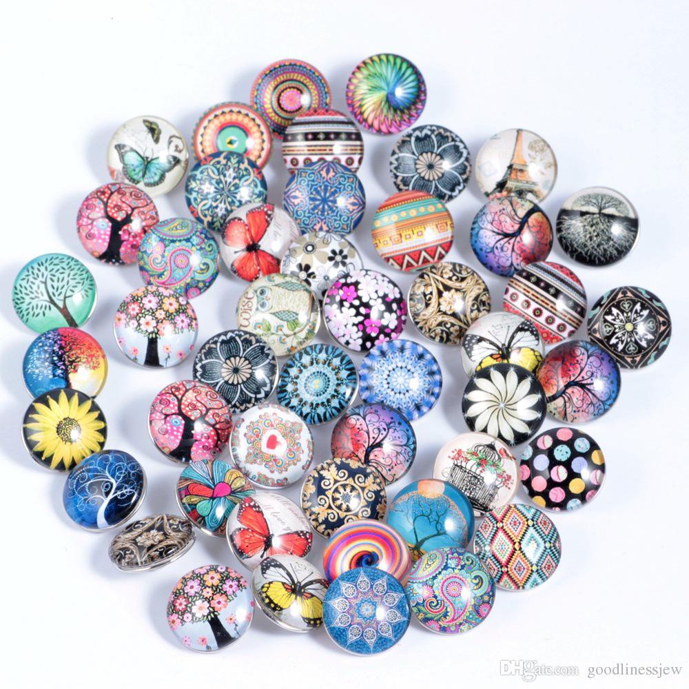 per la collana del bottone a scatto 18MM Ginger Glass Strass all'ingrosso di gioielli Accessori fai da te per bracciali in pelle