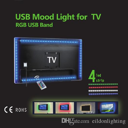 LED luces de tira del RGB 3528SMD TV retroiluminación Kit 50CM * 4 Powered USB de 5V a prueba de agua IP65 Lámpara del controlador remoto directos Shenzhen, China al por mayor