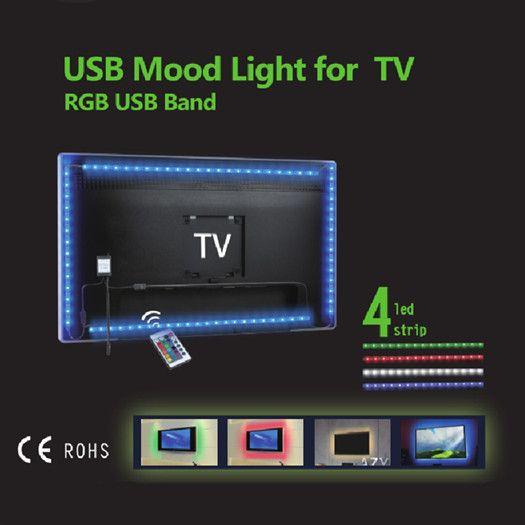 Светодиодные полосы света RGB 3528SMD TV Подсветка Kit 50см * 4 USB Питание 5V водонепроницаемый IP65 Лампа для пультов дистанционного управления Прямой Шэньчжэнь Китай Оптовые