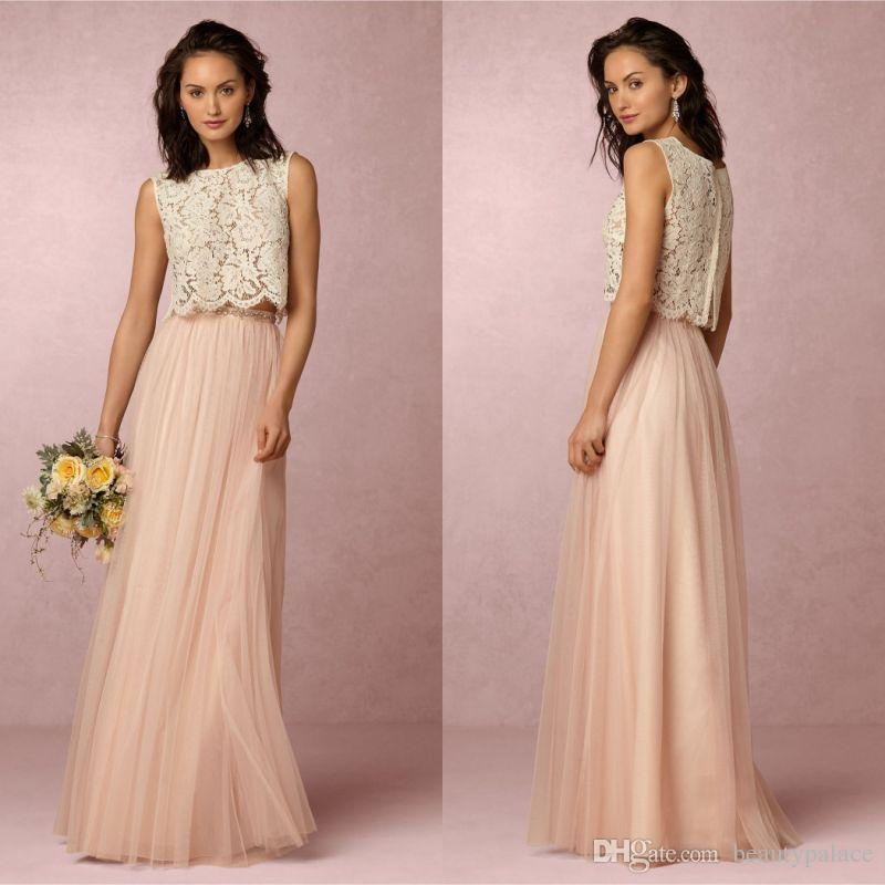 Zwei Teile Eine Linie Bodenlangen Tüll Lace Top Lange Brautjungfernkleider unter 100 Dollar Perlen Taille Günstige sexy Party Prom Kleider