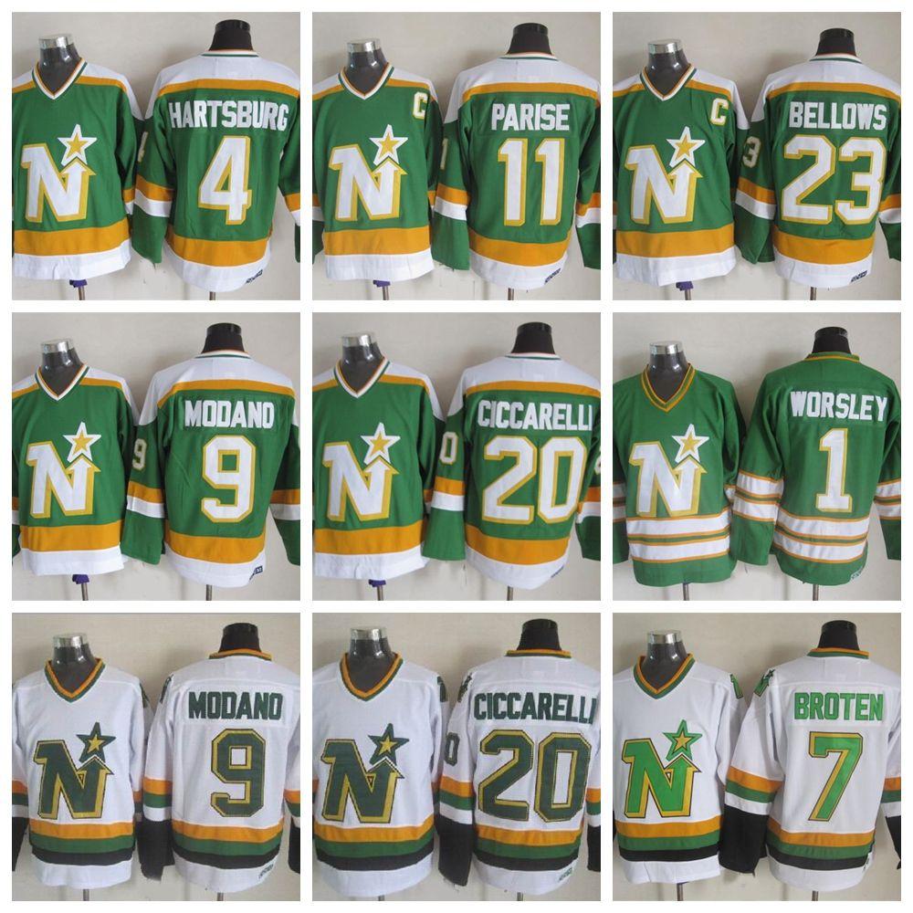 Vintage Minnesota North Stars Hockey maglie 1 Gump Worsley 9 Mike Modano 20 Dino Ciccarelli 11 JP PARISE 4 Craig Hartsburg maglie hockey