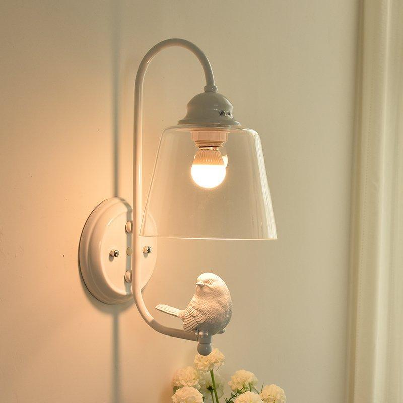 Lampada da parete moderna del bagno del corridoio di vetro della parete della lampada da parete del corridoio di vetro della lampada da parete dipinta a mano dell'uccello della resina bianca moderna