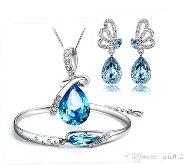 Hot Austria Crystal Necklace/Earrings/Bracelet Jewelry sets Three Pieces Angel Tears Glass Shoe Jewellery Sets for New year Free Shipping