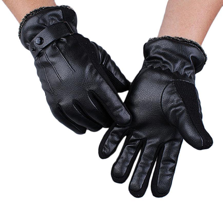 Großhandels- FEITONG Handwärmerhandschuhe Männer Mens PU-Leder-Winter, der warme Handschuhe Kaschmir fährt