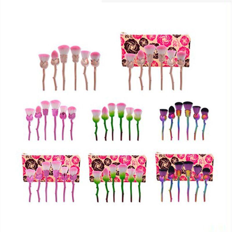 20 Sets 6 unids / set Pincel de maquillaje Base de maquillaje profesional Blush Powder Soft Cute Rose Gold Pink Pinceles de maquillaje con bolsa