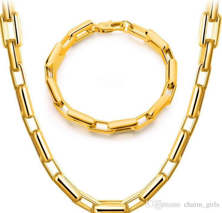 2017 المبيعات الساخنة الأقسام 18 كيلو الذهب اللوحات الاستبداد الخام جنون قلادة سوار رجل امرأة 9 ملليمتر الذهب سوار قلادة مجوهرات الزفاف مجموعة