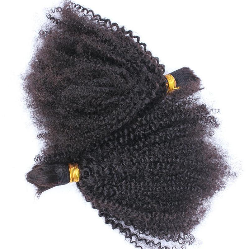 Mongolian Afro Kinky Curly Human Hair Bulk For Braiding Kinky Curly Hair Bulk Extensions 2pcs 3pcs Natural Color 12-30 inch
